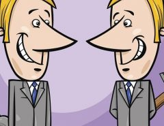 two false businessmen cartoon